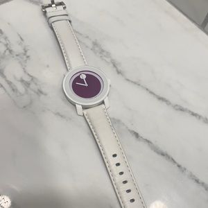 white leather movado bold hot pink face watch